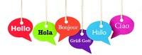 Bulles de textes avec salutations en différentes langues