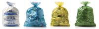 Sacs poubelles blanc, bleu, jaune et vert utilisés à Bruxelles